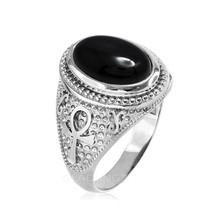 argento sterling ANKH egiziano croce onice nera anello appariscente - $69.99