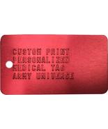 Red Medical Alert Tag Custom Print Health ID Medic Embossed Metal Dog Ta... - $7.99