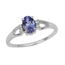 Oval Cut Tanzanite & White Topaz Stone 925 Silver Wedding Anniversary Gi... - $25.95