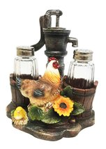 OLD FASHIONED FARM WELL PUMP ROOSTER CHICKEN SALT PEPPER SHAKERS HOLDER ... - $19.74