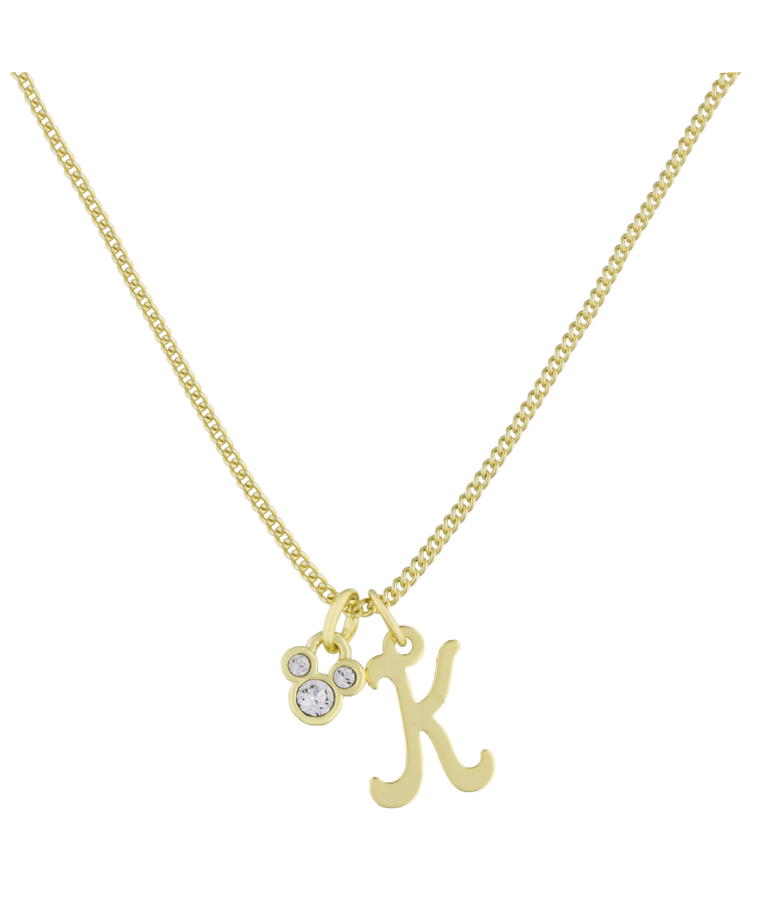 Disney Parks Mickey Mouse Faux Gem Icon Letter Initial K Necklace
