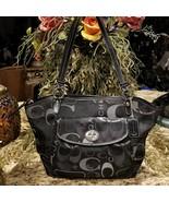 COACH Leah SIgnature Jacquard & Leather Tote Purse Turnlock Flap Pocket ... - $79.95