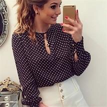 Women Fashion Blouse Chiffon Hollow Sexy Casual Long Sleeve Casual Shirt