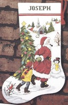 Sunset Skating with Santa Pipe Tree Christmas Cross Stitch Stocking Kit ... - $42.95