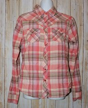 Womens Pink Plaid Cumberland Long Sleeve Western Snap Up Shirt Size Smal... - $7.91