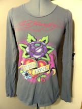 ED HARDY Audiger T-shirt Top XS Gray Rose Heart Tattoo long sleeve urban... - $17.81