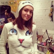 Women New Winter 3D Beads Cat Sweatshirts Harajuku Venta 2015 Para Mujer... - $15.96+