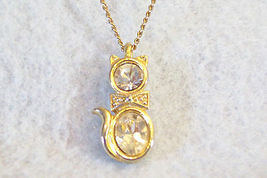 CZ Kitty Cat Pendant Cubic Zirconia Necklace Gold Plated Figural Sparkle Signed image 4