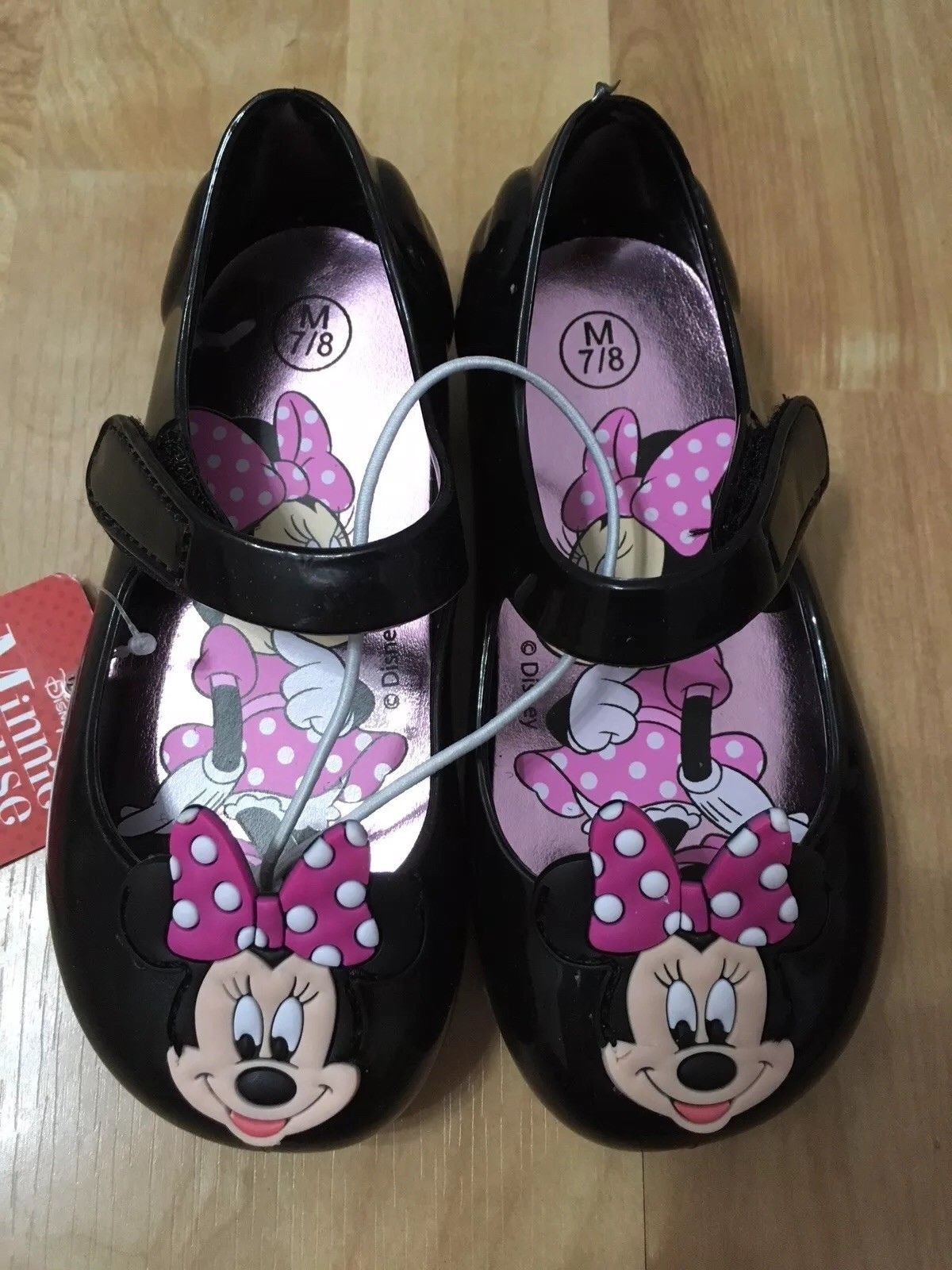 DISNEY Minnie Mouse Toddler Girls Black/Pink Mary Jane Shoes, Choose Size NWT S6