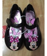 DISNEY Minnie Mouse Toddler Girls Black/Pink Mary Jane Shoes, Choose Siz... - $18.67