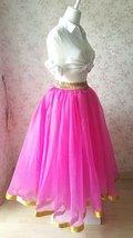Fuchsia and Golden Tulle Long skirt Tulle Mesh Princess Skirt, Ballet Skirt NWT image 6