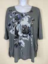 Faded Glory Women Plus Size 4X Gray Floral Graphic T-shirt Scoop Neck 3/... - $14.40