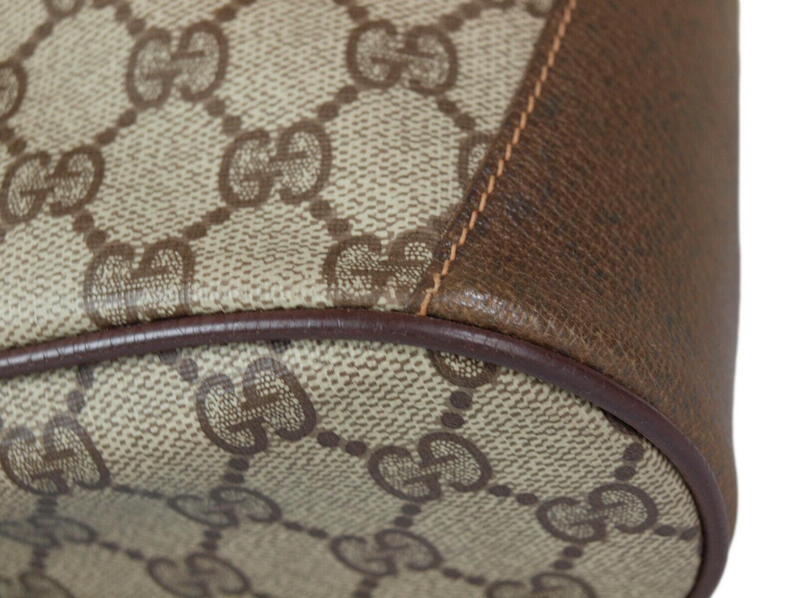 GUCCI GG Web PVC Canvas Leather Browns Drawstring Shoulder Bag GS2171 image 5