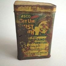"""Vintage ASCO Git Um Auto Dust Polishing Cloth Tin 1940's 5"""" X 3""""X 2""""  - $13.61"""