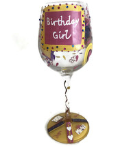 "Lolita Happy ""BIRTHDAY GIRL"" Love My Wine Glass 15 oz. Hand Painted Bling - $26.45"