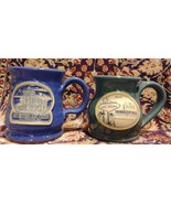 Deneen Pottery - LOT 2 mugs East Brother Light Station Paii Las Vegas USA - $29.88