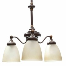 Hampton Bay Bristol 3-Light Nutmeg Bronze Reversible Chandelier Glass Sh... - $52.17