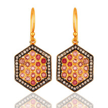 Pink Tourmaline Gemstone 18K Gold Plated 925 Silver Women Earrings Jewelry - $79.20