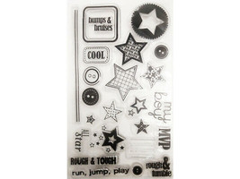 Tough Boy Clear Stamp Set, Includes Stars and Sentiments