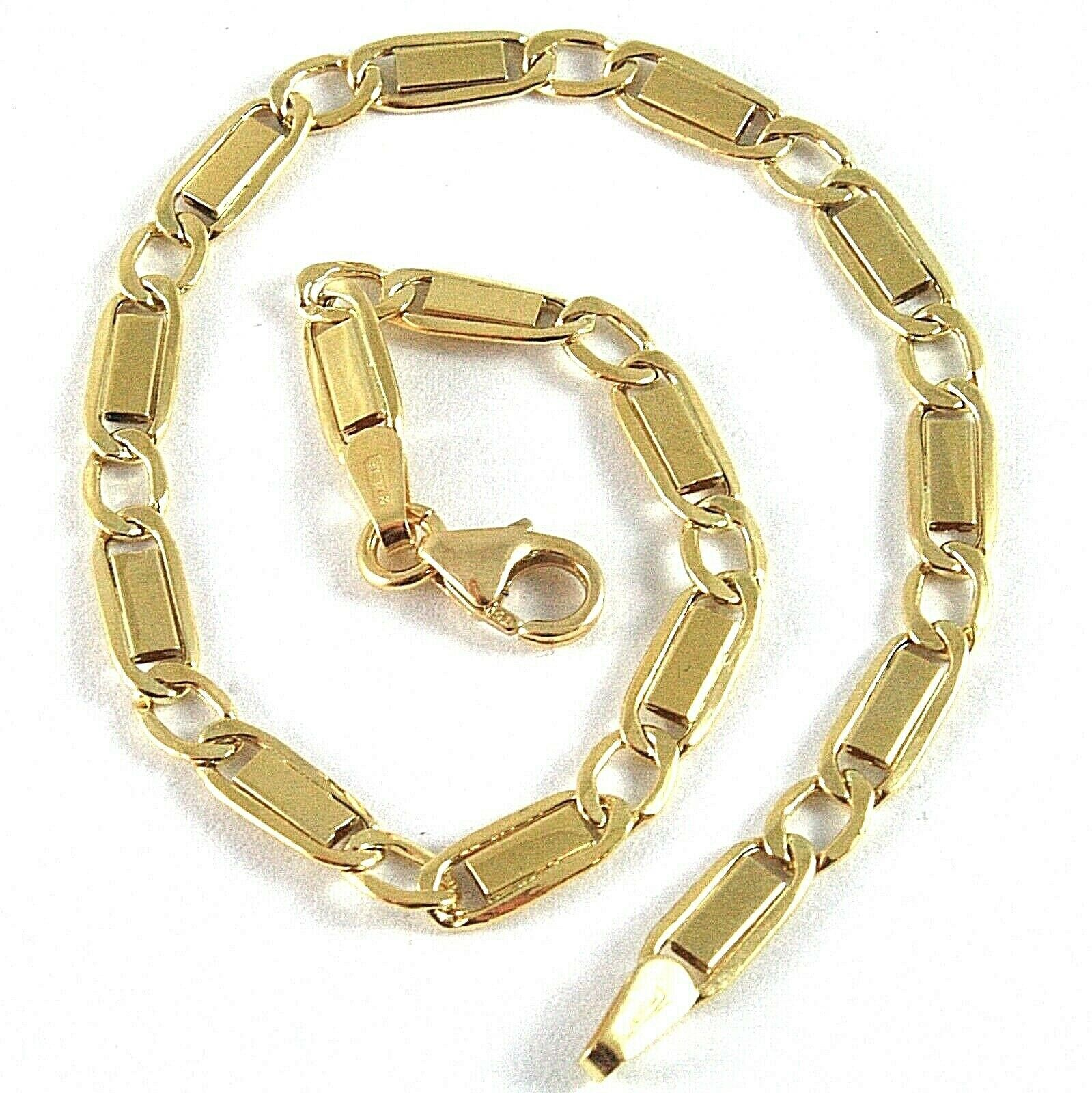 18K YELLOW GOLD BRACELET WITH FLAT ALTERNATE 4 MM OVAL  LINK MADE IN ITALY