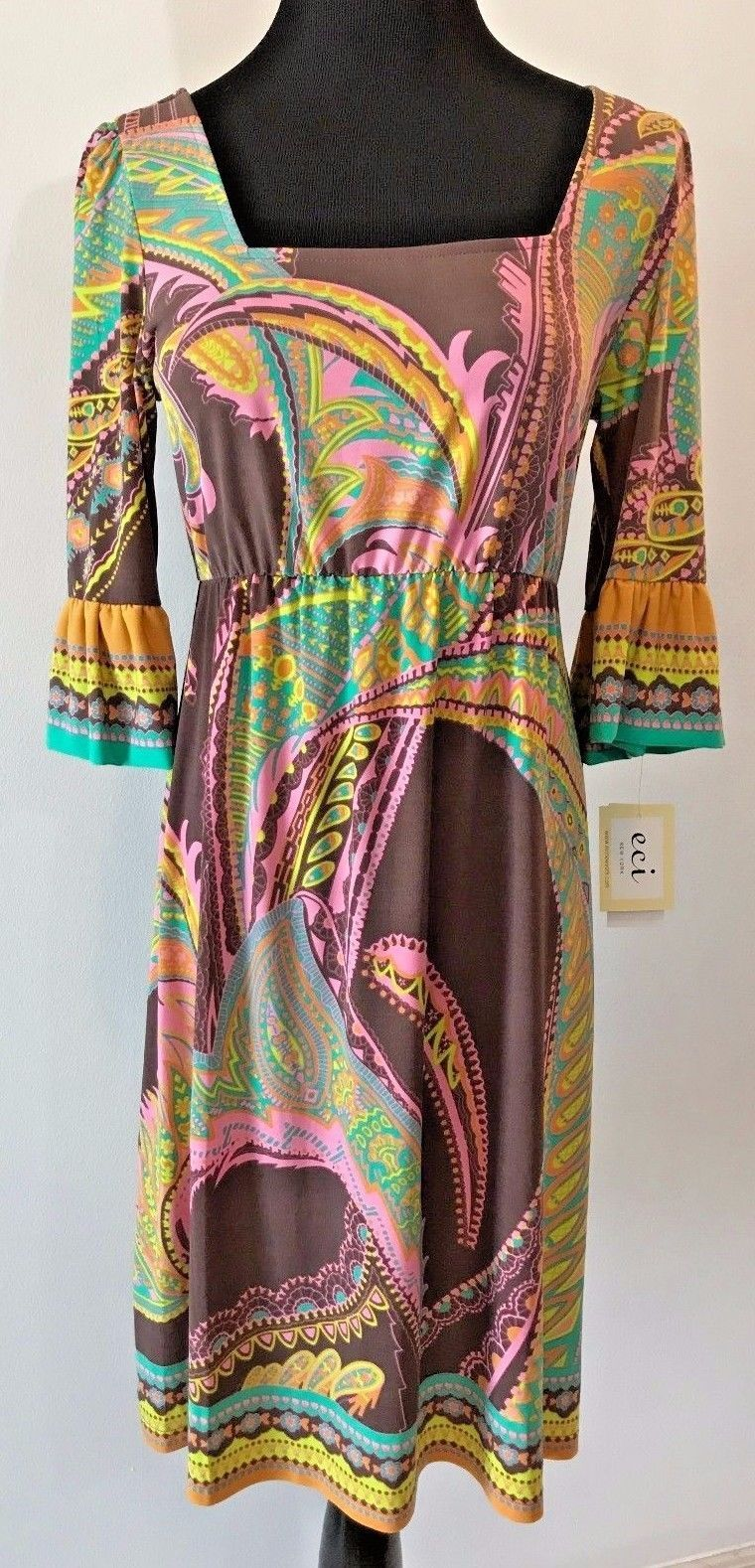 aaa6dc8295 S l1600. S l1600. Previous. ECI New York Brown Pink Multicolor Square Neck  Stretch Dress size 6 ...