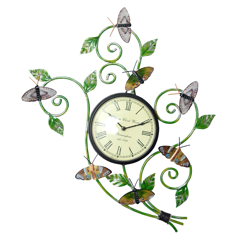 Handmade iron Hand painted butterfly watch Wall panel, Wall Clocks