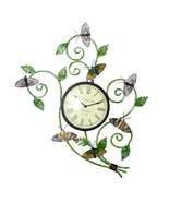 Handmade iron Hand painted butterfly watch Wall panel, Wall Clocks  - $92.99