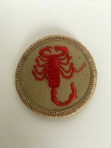Scorpion Patrol Patch Boy Scouts BSA Red on Tan Round Vintage Badge - $5.09