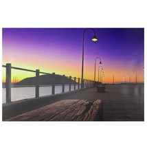 "Northlight LED Lighted Sunset Boardwalk Scene Canvas Wall Art 15.75"" x 2... - $16.57"