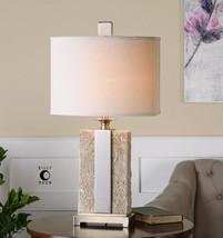 "DESIGNER 29"" ANTIQUED STONE IVORY TEXTURED FINISH BRUSHED NICKEL TABLE LAMP - $217.80"