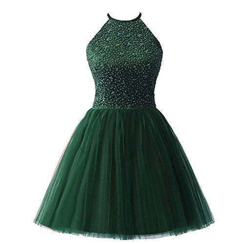 Short Halter Beaded Tulle Prom Dress Corset Homecoming Evening Plus Size Emerald