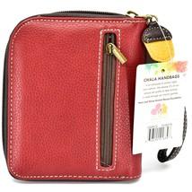 Chala Handbags Faux Leather Maroon Burgundy Raccoon Zip Around Wristlet Wallet image 2