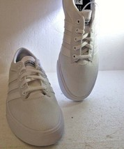 New Men's Adidas Sellwood Skate Sneakers White Canvas BY4086 - $31.92