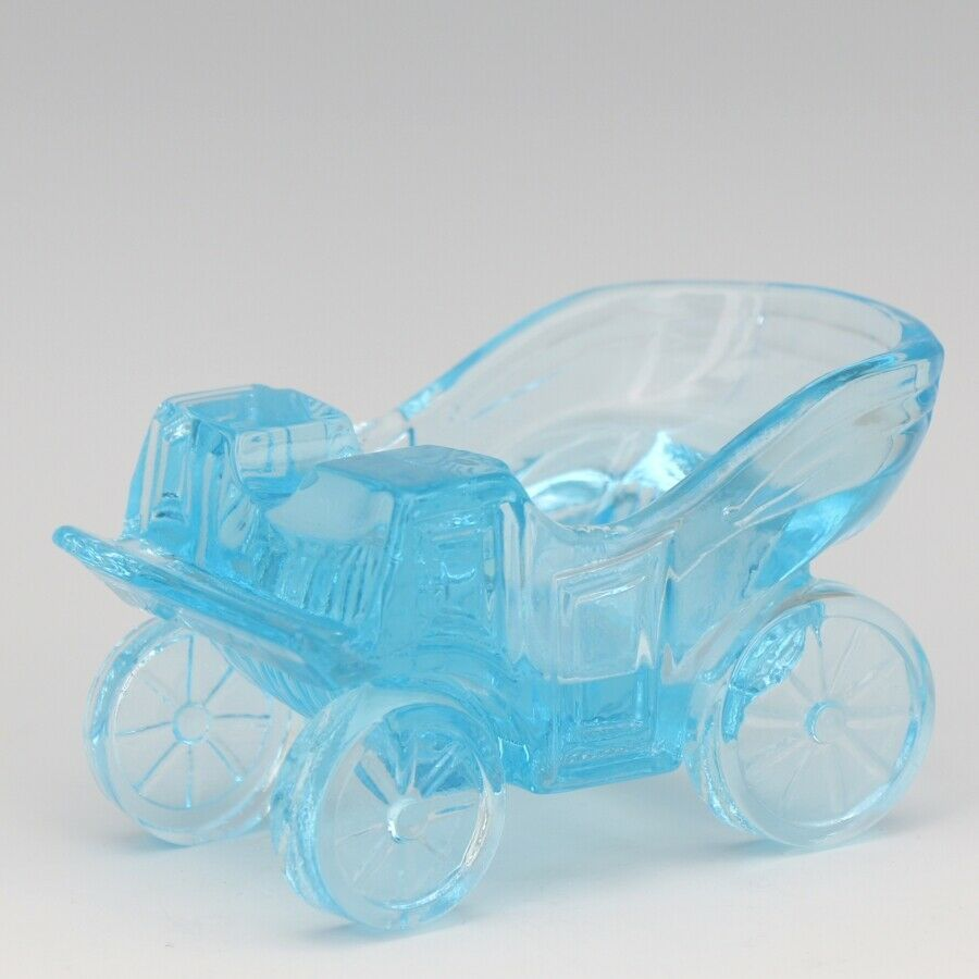 Vintage Novelty Glass LG Wright Blue Carriage Ashtray