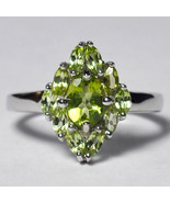 Womens Natural Peridot Gemstone Ring 925 Sterling Silver Flower Cluster ... - £53.24 GBP