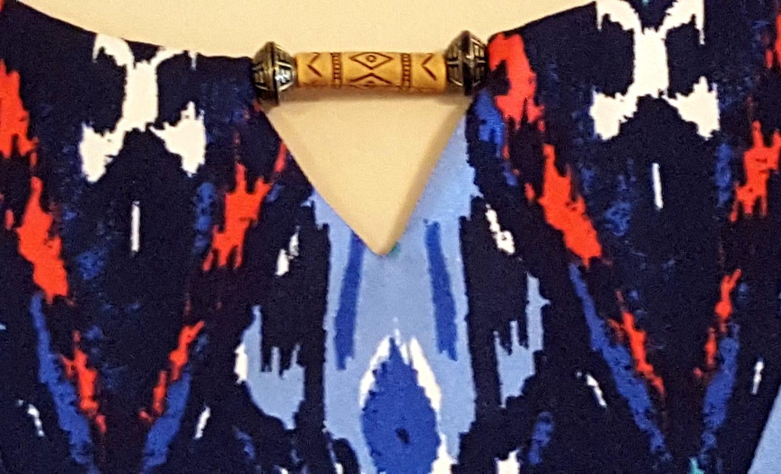 NEW DIRECTIONS RN 31104 – Women's Blue/Coral Sleeveless Dress – Size:  MEDIUM