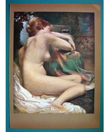 NUDE Lovely Maiden Resting on Sofa Fabrics - COLOR Typogravure Print - $22.95