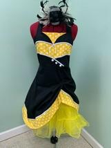 594ms Rockabilly Noir Jaune Blanc Pois Crinoline Cheveux Pièce Costume H... - $79.66