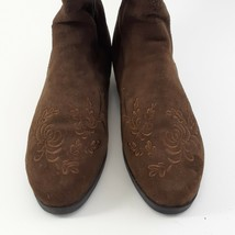 Jack Sprat Brown Suede Genuine Leather Floral Embroidered Sz 10 M Ankle Boots image 2