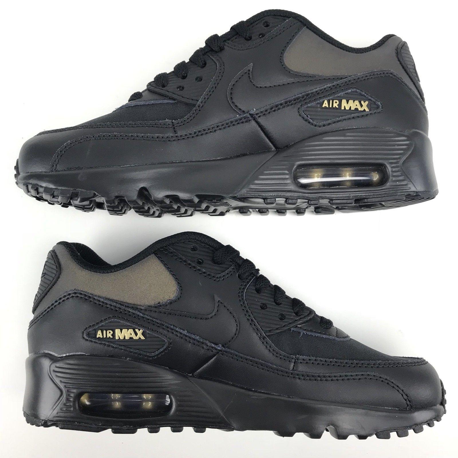 Nike Air Max 90 Premium Women s Size 7   Boys Size 5.5Y Black Gold AH9345 c5c0e0572afa8