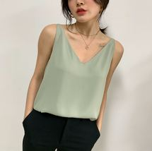 Silver Blue White Sleeveless Chiffon Tank V-Neck Sleeveless Chiffon Casual Tops image 8