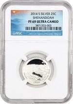 2014-S Shenandoah 25c NGC PR 69 UCAM (Silver) - America The Beautiful Qu... - $24.25