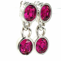 Vintage SAL Swarovski Crystal Hot Pink Earrings With Silver Chain Detail - $85.00