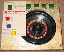 ROULETTE OUTFIT CAP'D ANTIBE TRANSOGRAM 1961 VINYL LAYOUT ROULETTE WHEEL... - $30.00