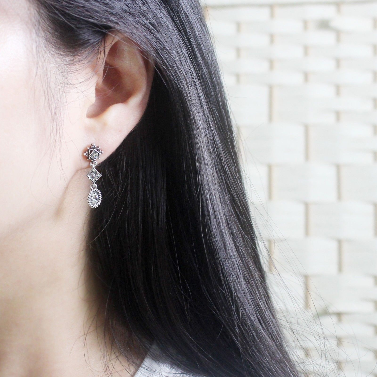 3 Tiered Oval Rhombus Dangle Earrings Made With Swarovski Stone 925 Silver Ear image 8