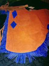 Suede Blue and Orange Chinks Cutting Horse Bronc Ranch Chaps NEW Size XL image 3