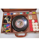 Lowe Company NY Roulette wheel checkers Racing Vintage chess suitcase tr... - $180.00