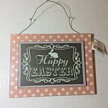 Happy Easter Sign Plaque Wall Blackboard Chalk Pink Wood Decoration Hanging - $11.80