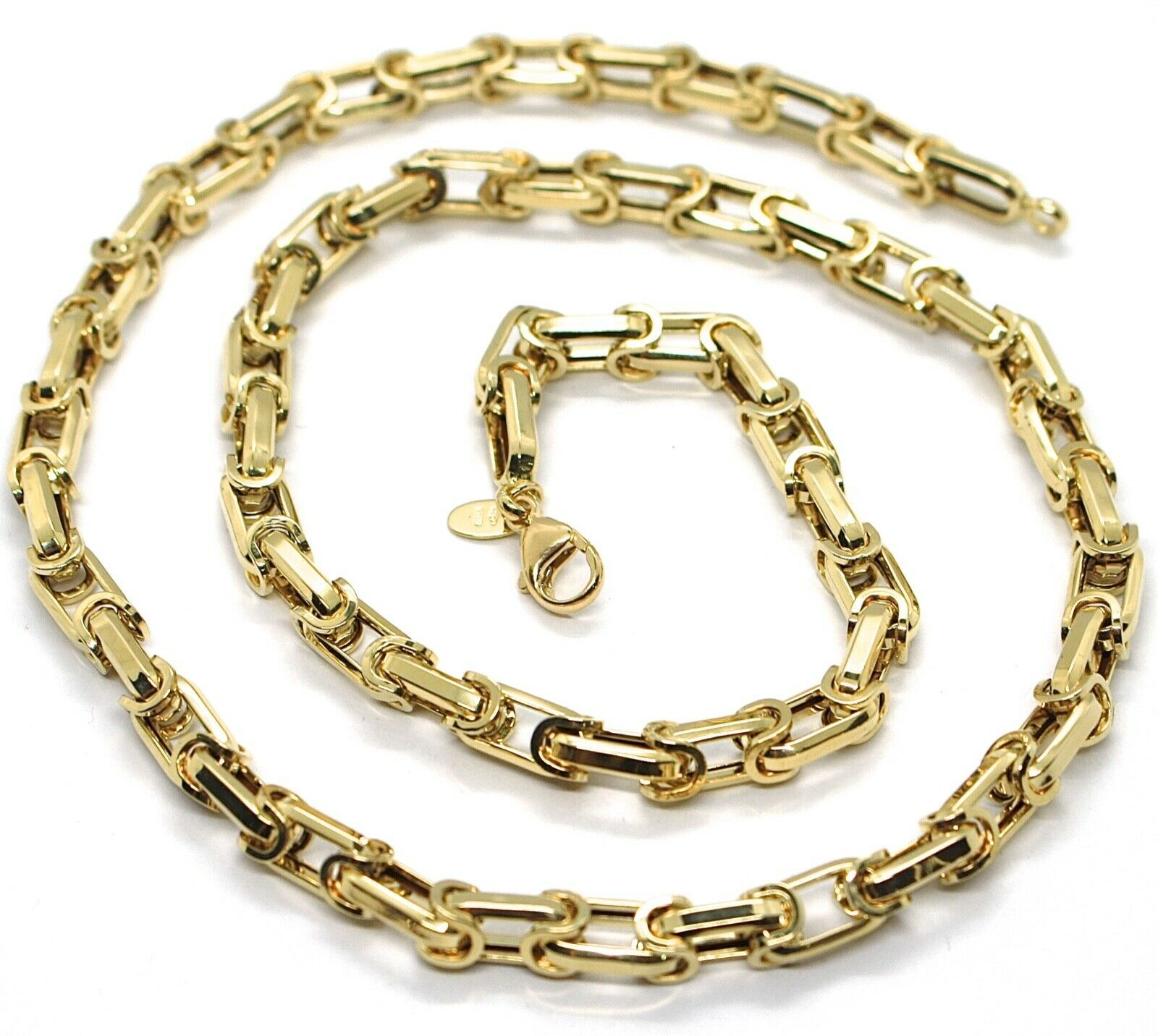 18K YELLOW GOLD CHAIN BIG ALTERNATE OVALS 7 MM 20 INCHES, SQUARED NECKLACE SHOWY