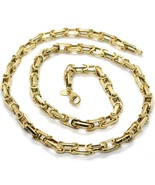 18K YELLOW GOLD CHAIN BIG ALTERNATE OVALS 7 MM 20 INCHES, SQUARED NECKLA... - $3,175.65